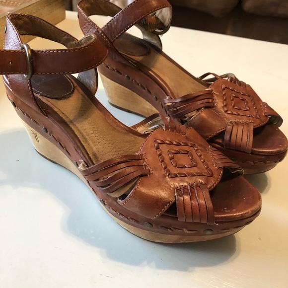 "a25bf8fb5ce Frye Shoes - Frye ""Carlie Huarache"" wedge sandals"